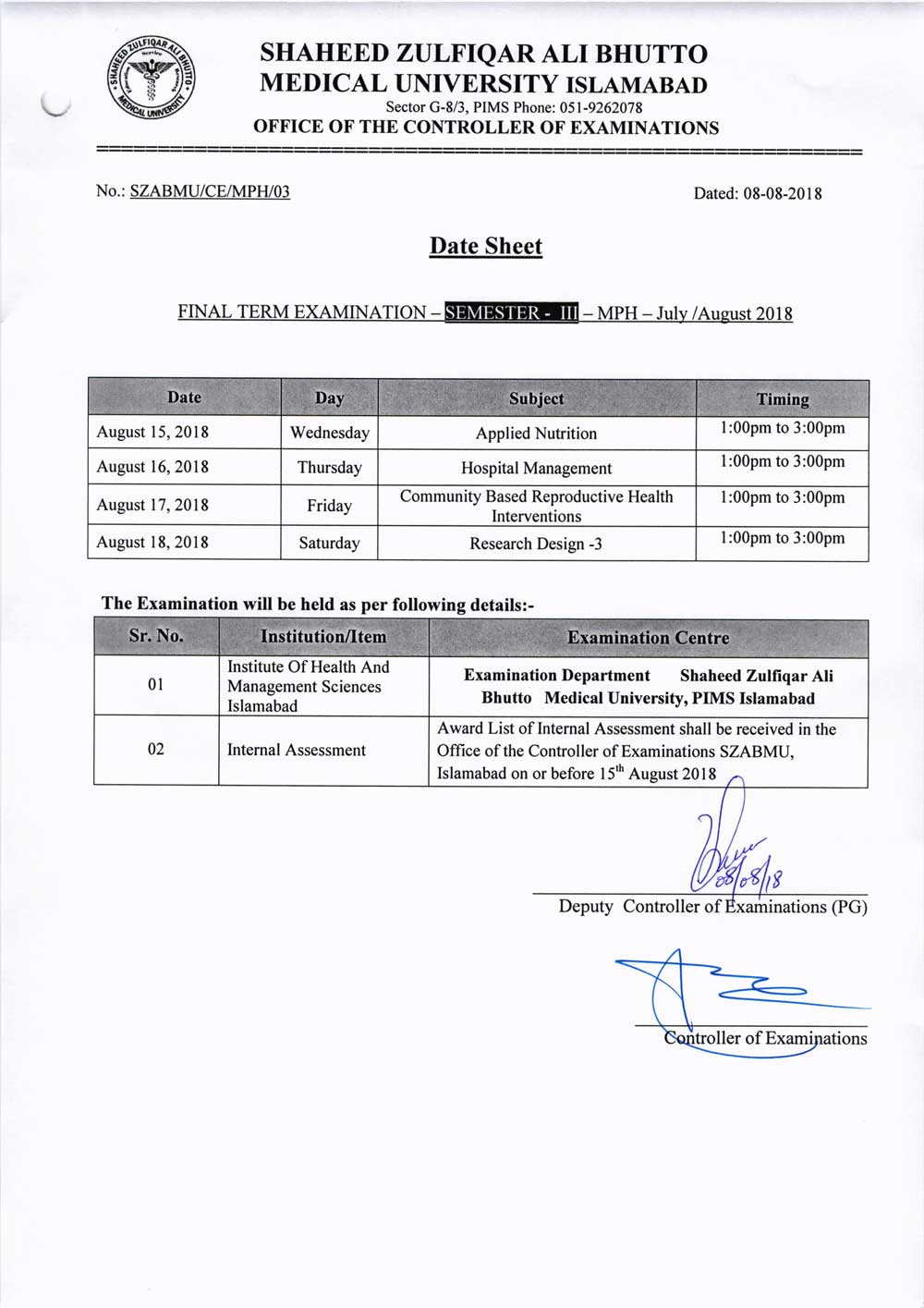 Date Sheets of MPH 1st, 2nd & 3rd Semester Examinations