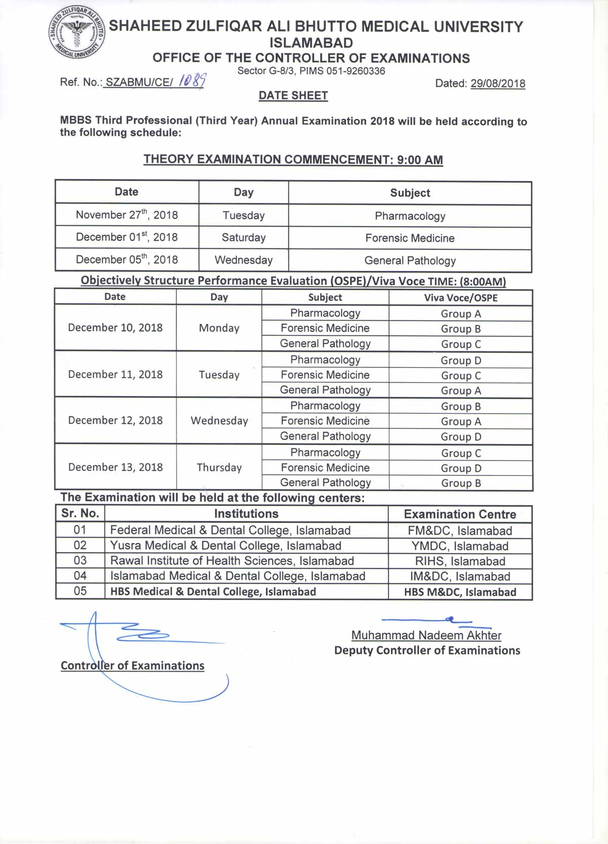 Date Sheets - MBBS All Professional Annual Examination, 2018