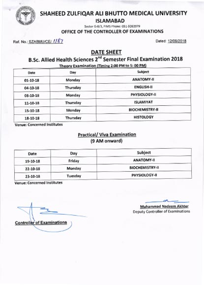 B.Sc. Allied Health Sciences Examinations Date Sheet