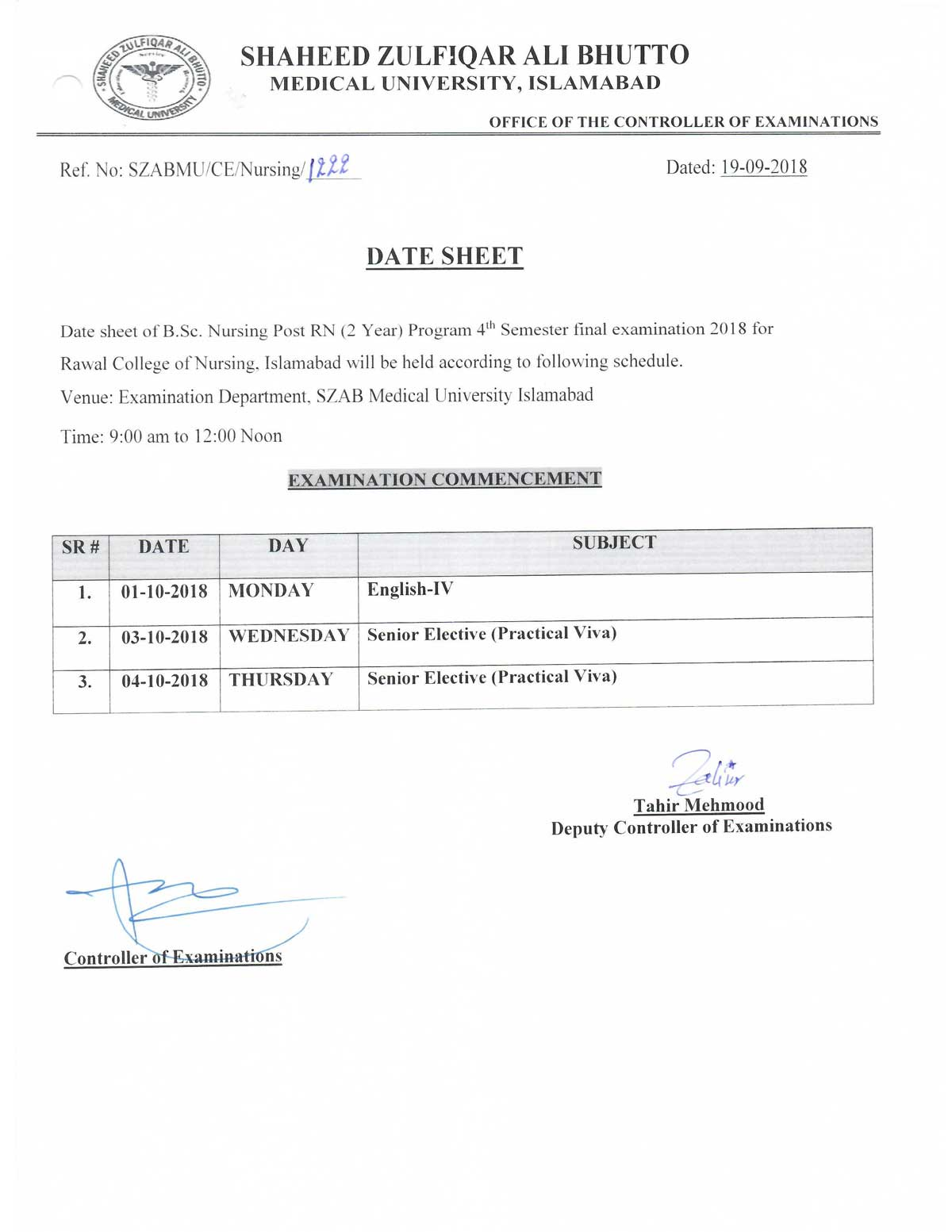 Date Sheet of B.Sc Nursing Post RN 4th Semester, RCN, Islamabad