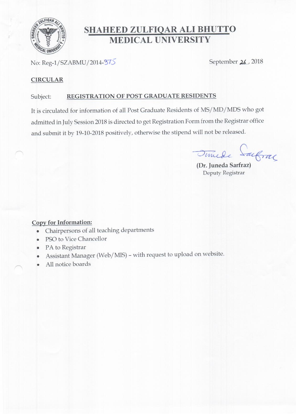Registration Of Post Graduate Residents Session July 2018
