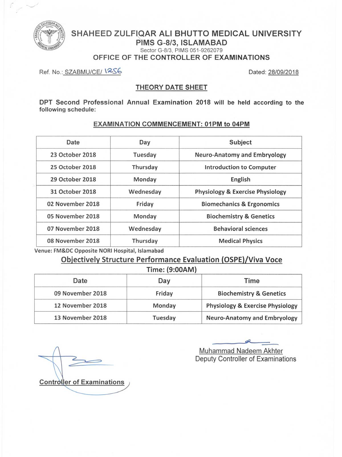 Date Sheets - DPT 1st, 2nd, 3rd & 4th Professional Annual Examinations