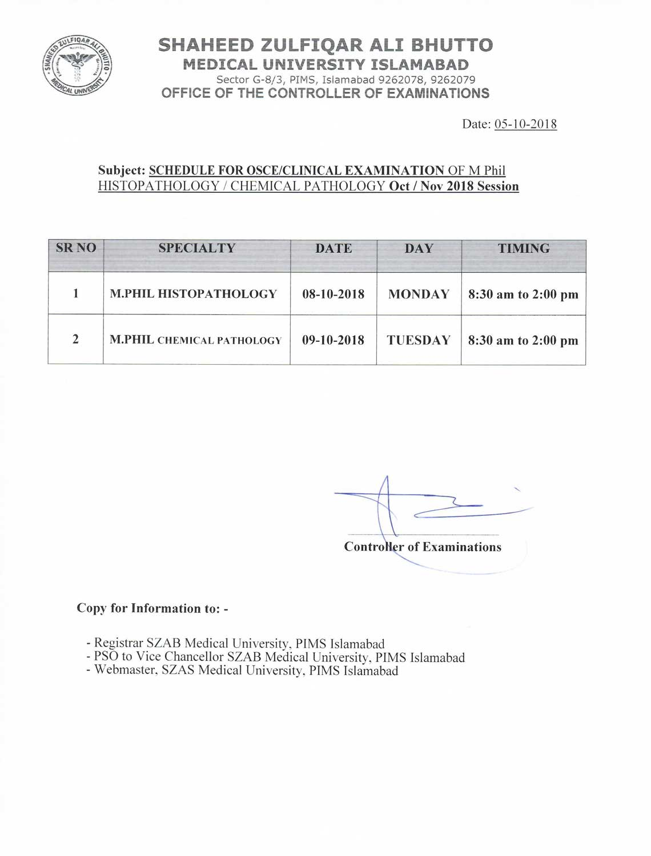 OSCE/Clinical VIVA Schedule Oct/Nov 2018 Session