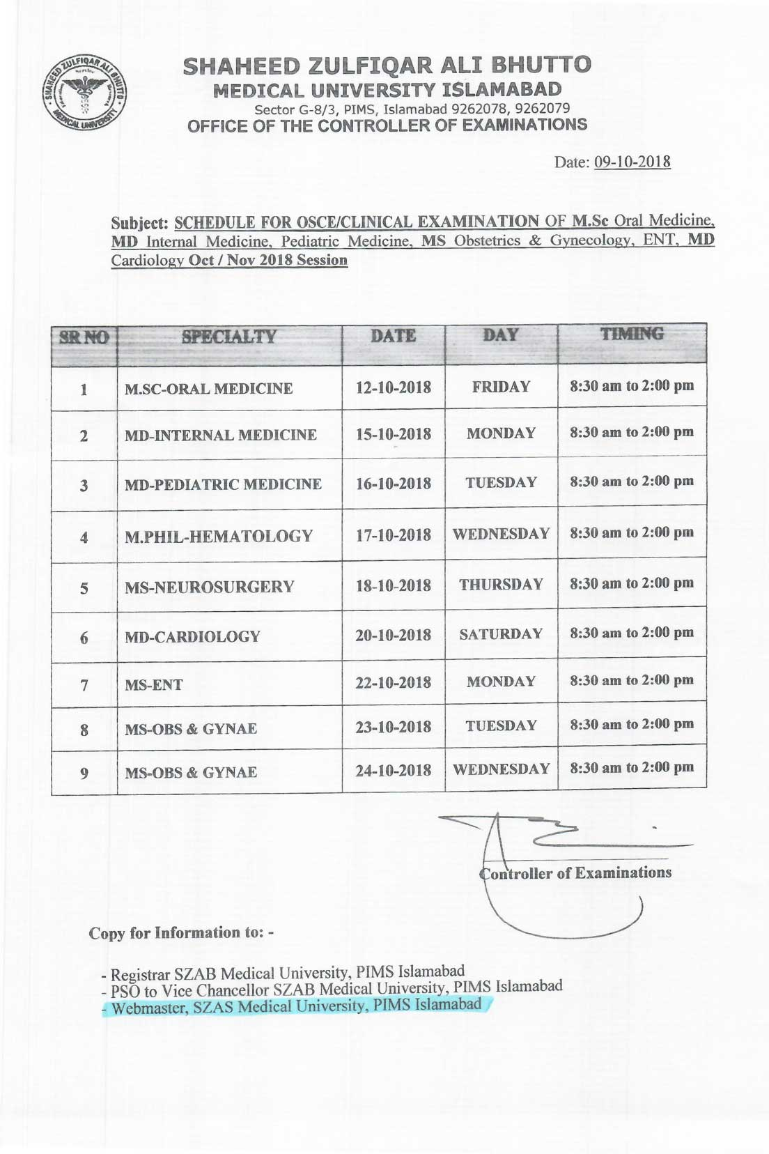 Schedule of Viva/Clinical Exam Oct/Nov Session 2018