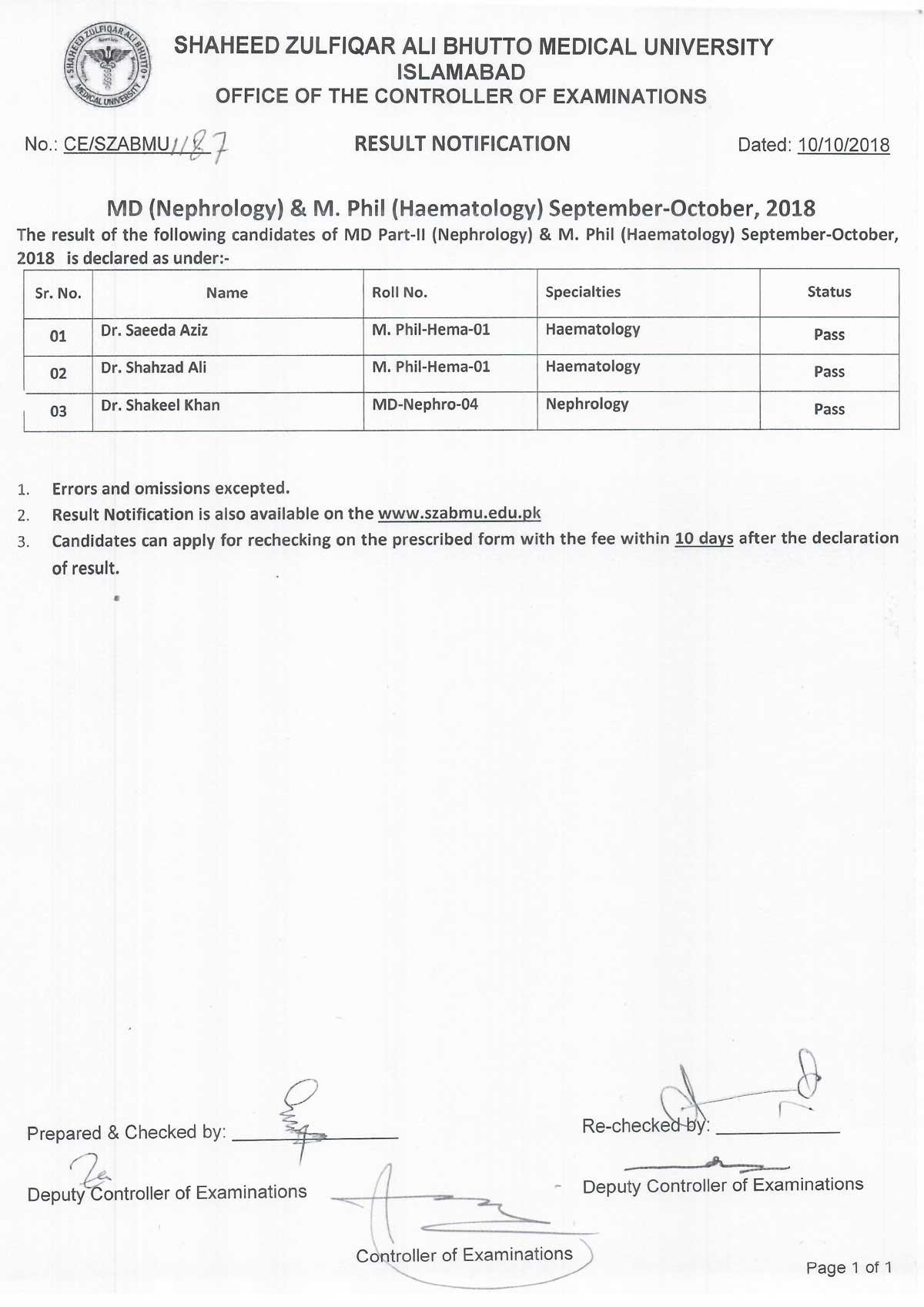 Result Notification - MD Nephrology & M.Phil Haematology Examination September - October 2018