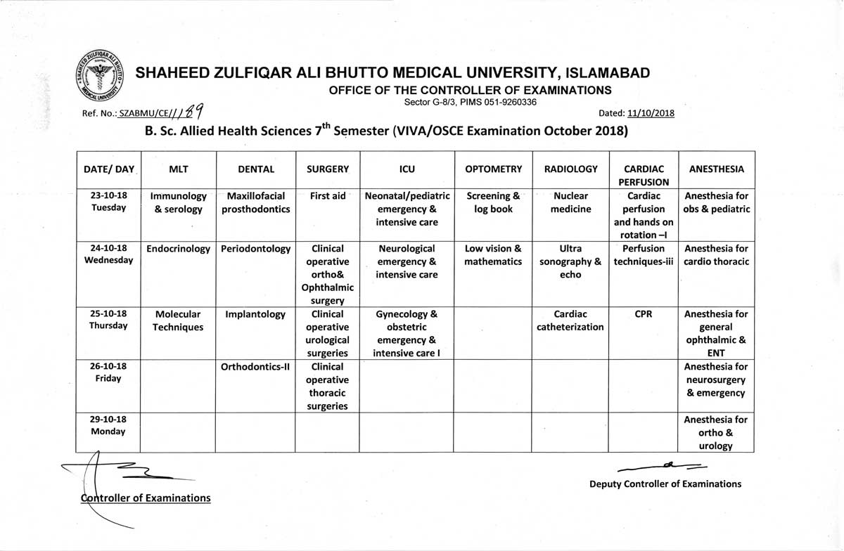 Date Sheet - BSc Allied Health Sciences 4th, 5th & 7th Semester VIVA/OSCE Examinations October 2018