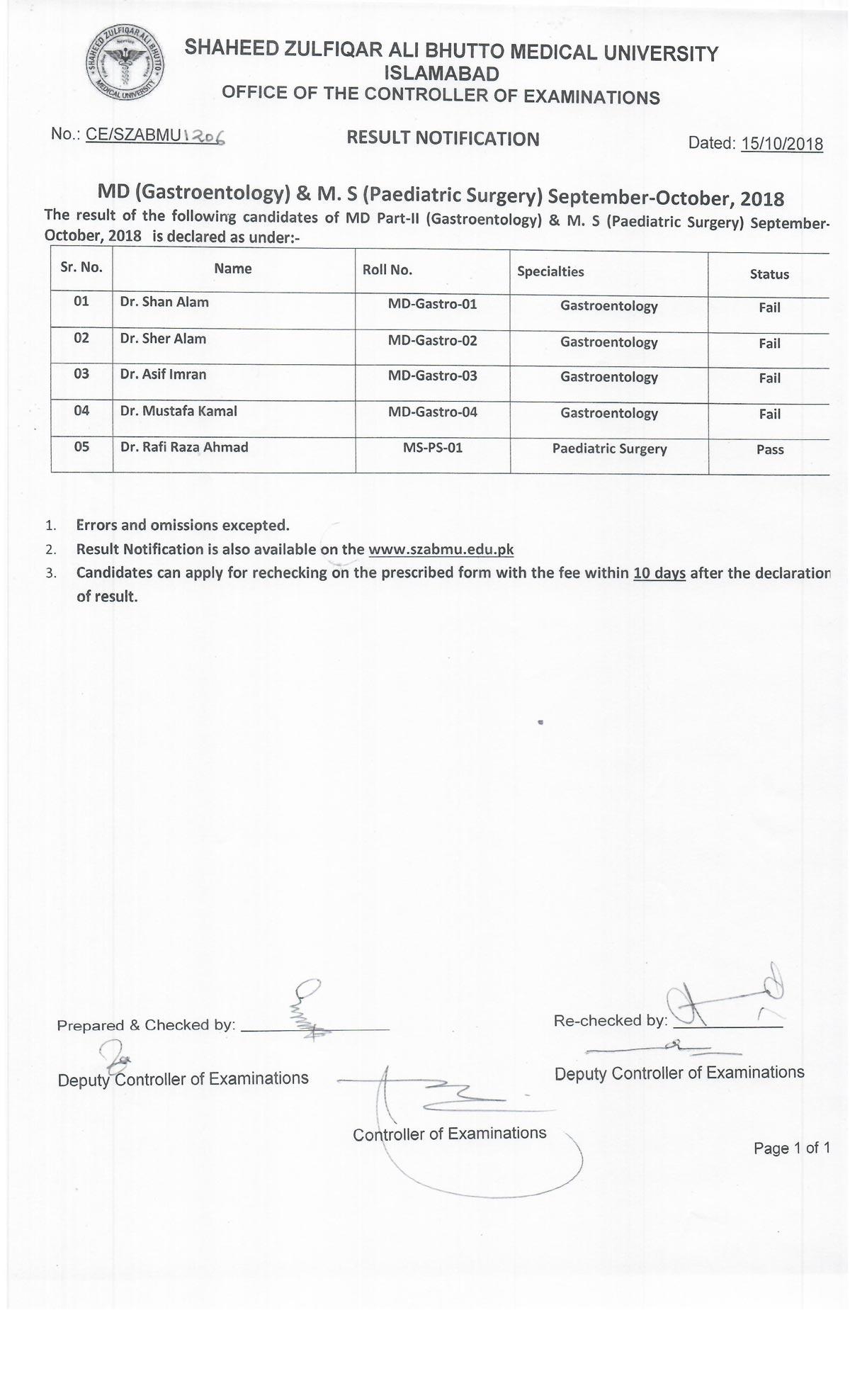 Result Notification - MD (Gastroenterology) & MS(Paediatiric Surgery) September - October 2018