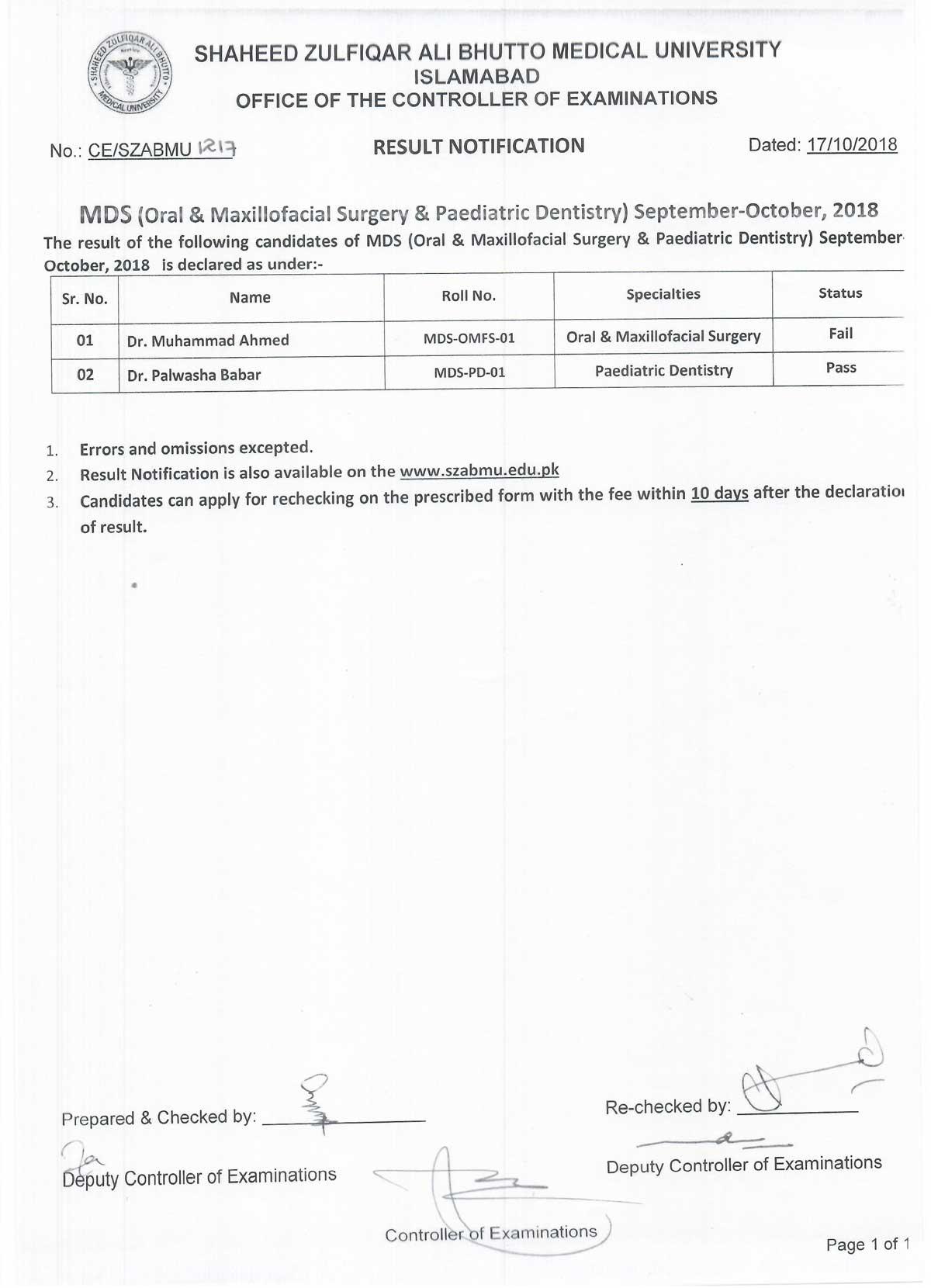 Result Notification - MDS (OMFS & Paediatiric Dentistry) September - October 2018