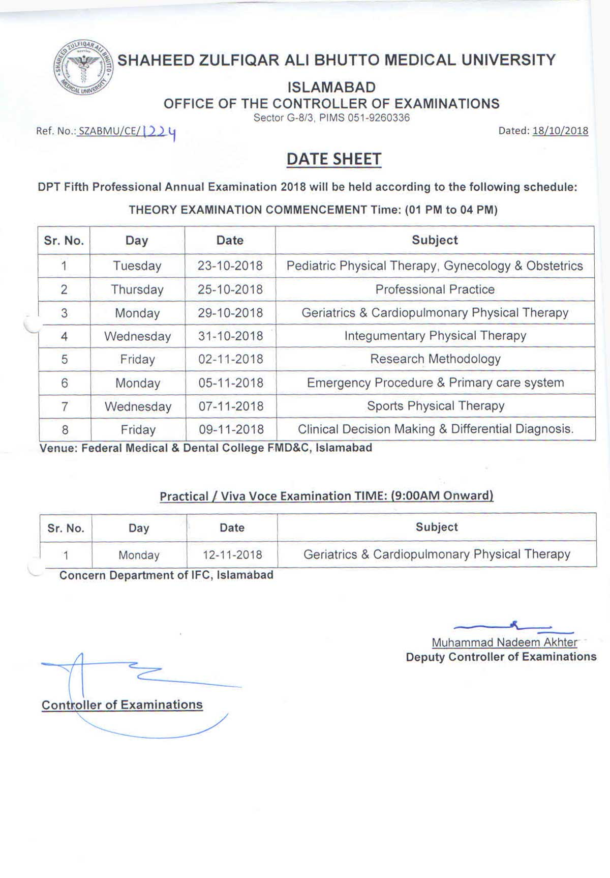 Date Sheet DPT Fifth Professional Annual Examination 2018