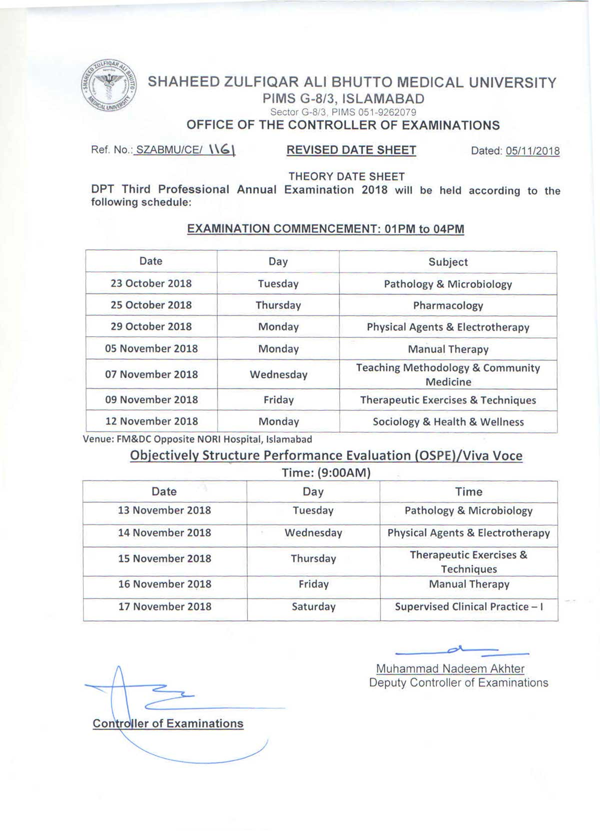 Revised Date Sheets for DPT Annual Examination 2018