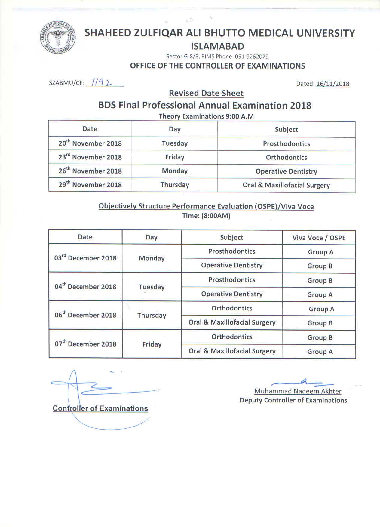 Revised Date Sheets for BDS Annual Examination, 2018