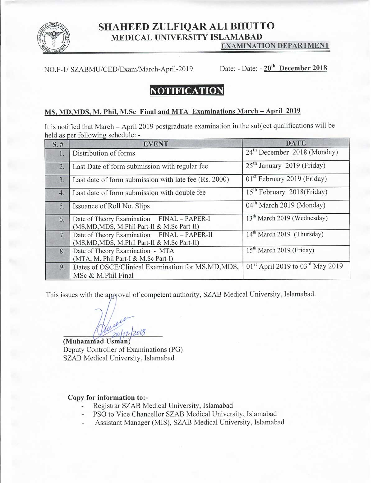 Notification for March/April 2019 Postgraduate Examinations