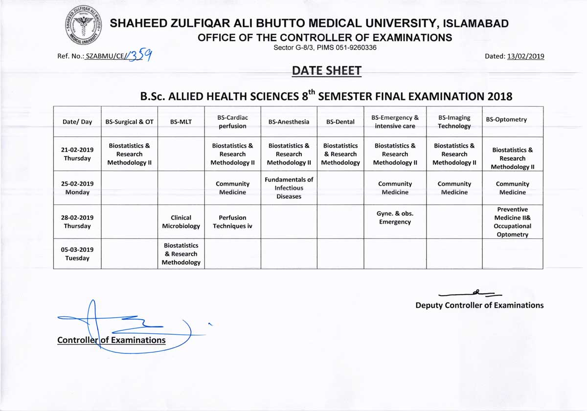 Date Sheet B.Sc Allied Health Sciences 8th Semester Final Examinations 2018