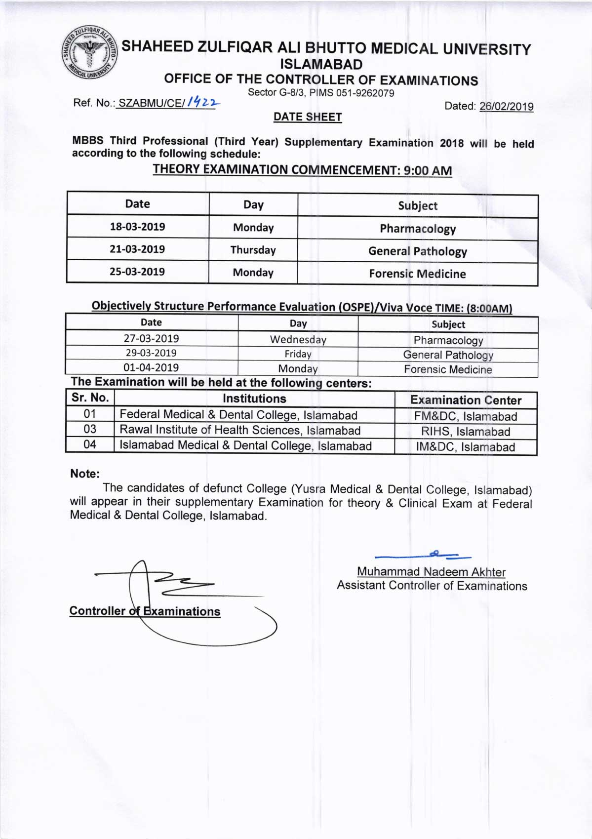 Date Sheets of MBBS 1st, 2nd, 3rd & 4th Professionals Supplementary Exam 2018