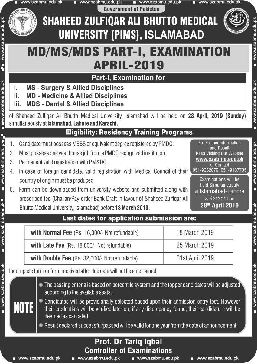 MD/MS/MDS PART I Examinations April 2019 | Shaheed Zulfiqar