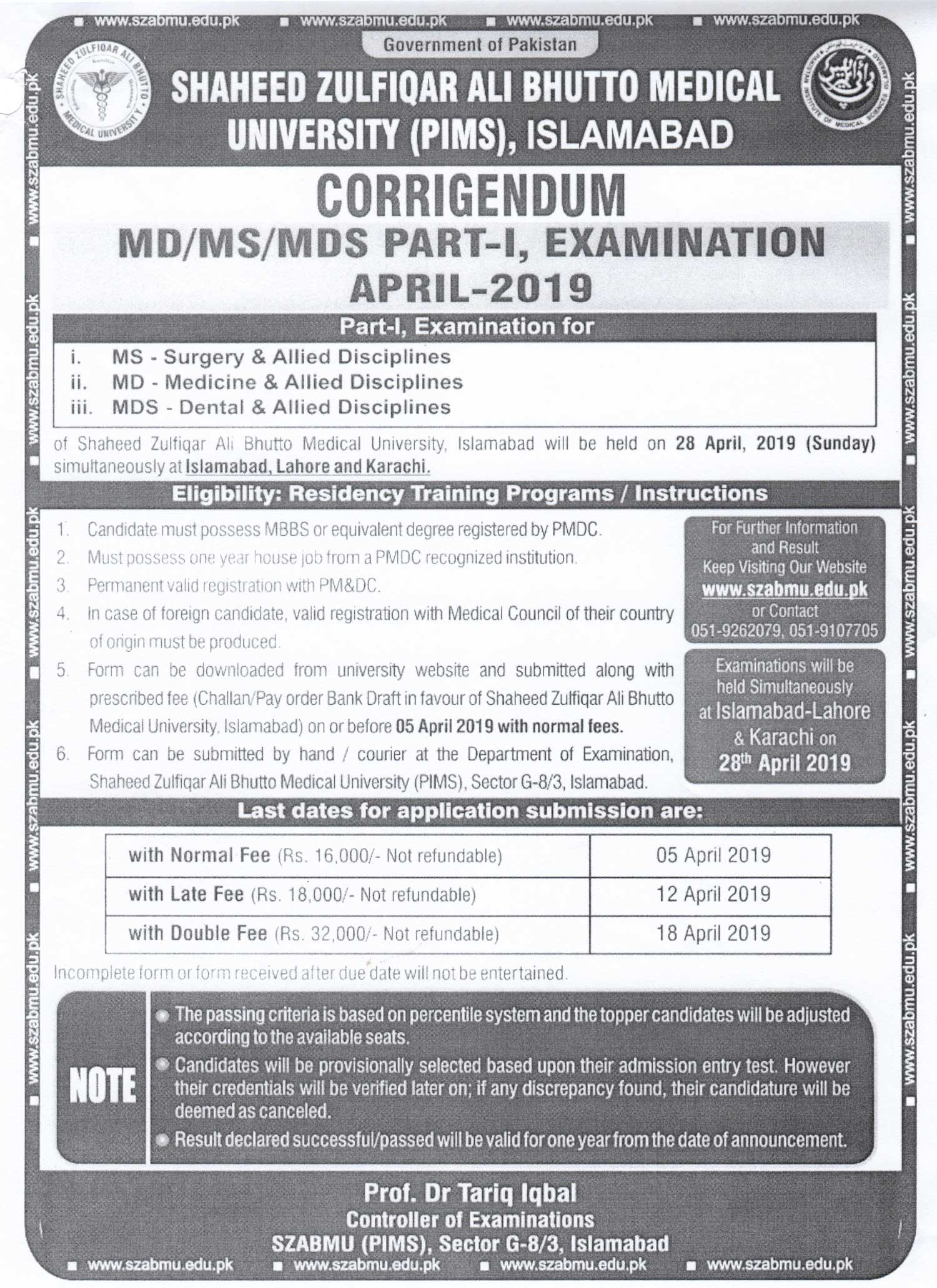 Corrigendum - MD/MS/MDS PART I Examinations April 2019
