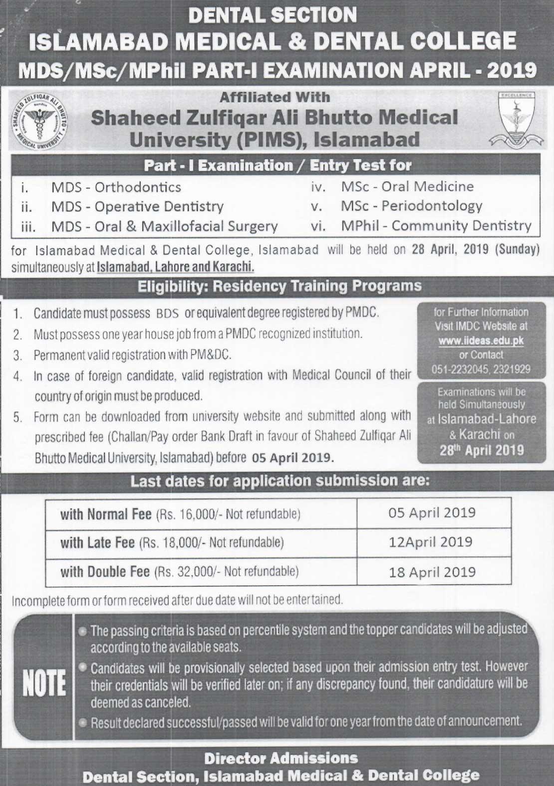 IMDC MDS/MSc/MPhil Part-I Examination April 2019
