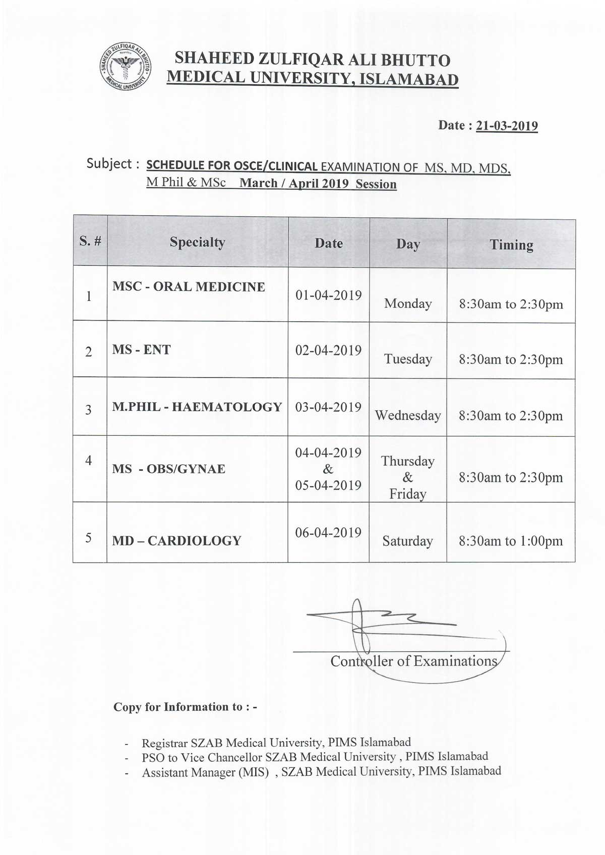 Schedule for OSCE/Clinical Examination of MS, MD, MDS, M.PHIL & M.SC March/ April 2019 Session