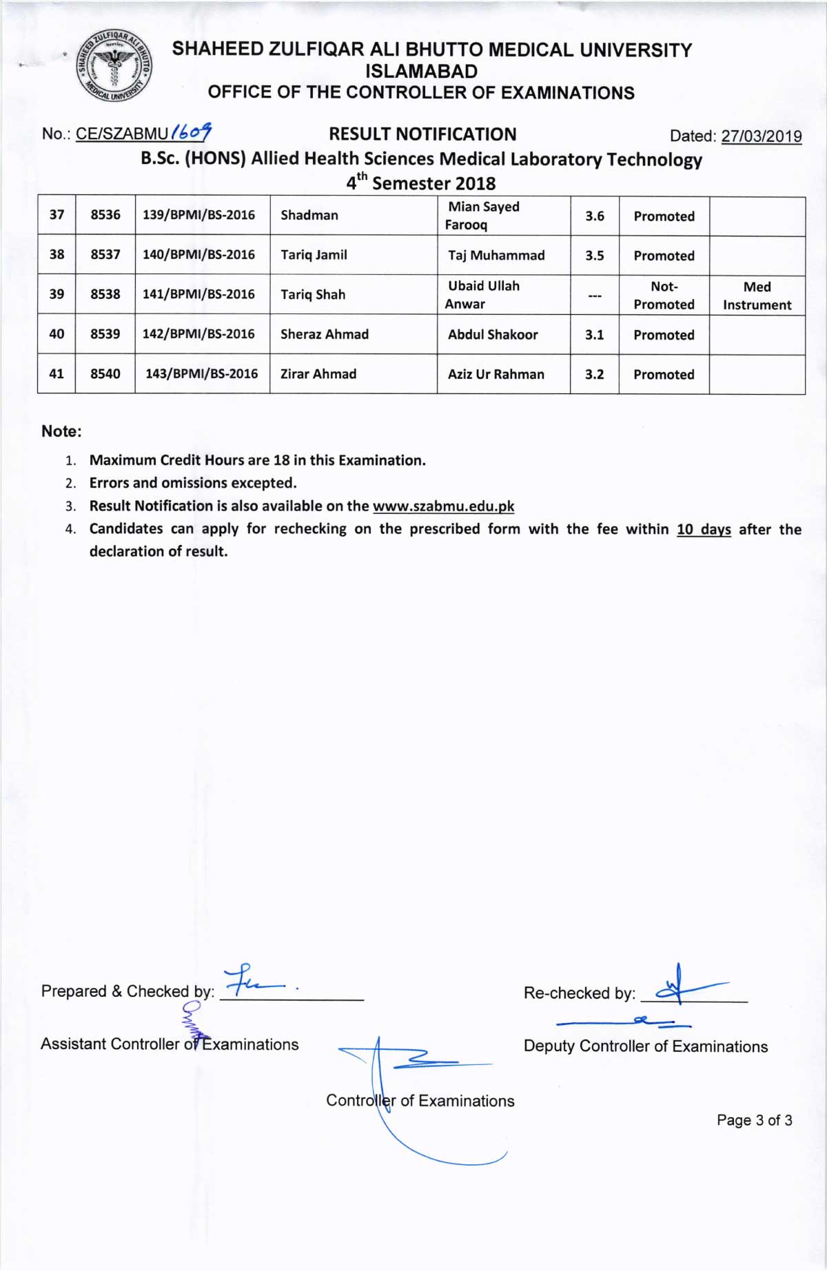Result Notification of BSc (Hons) Allied Health Sciences Medical Laboratory Technology 4th Semester 2018