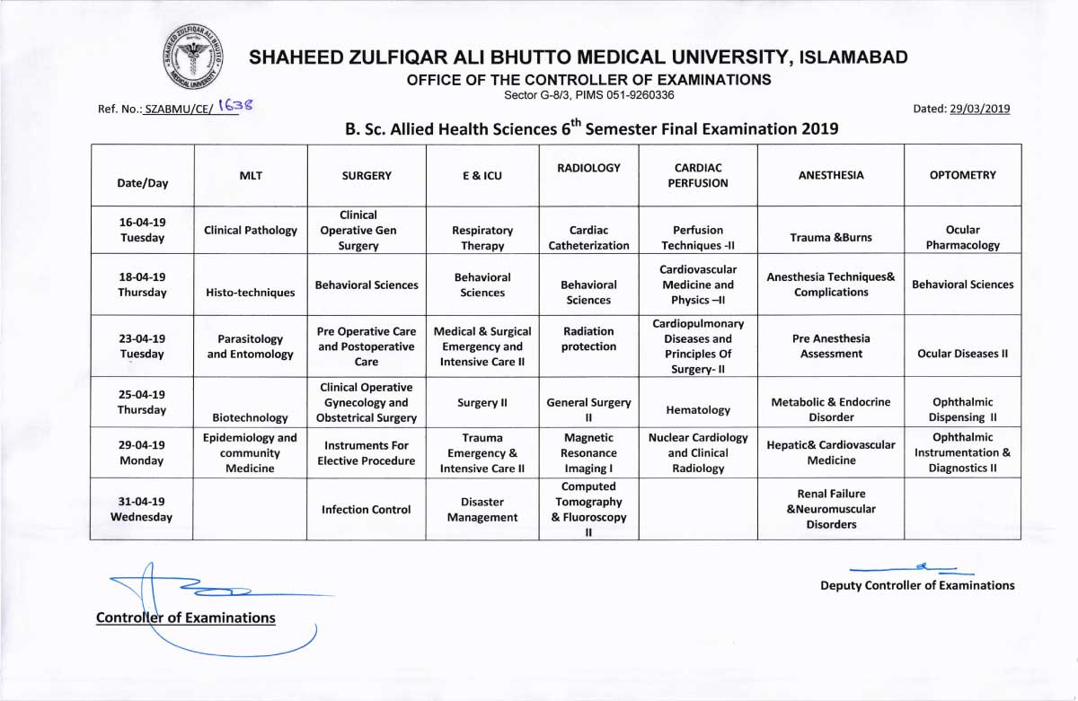 Date Sheet of Allied Health Sciences (AHS) 3rd, 5th & 6th Semester Final Examinations 2019