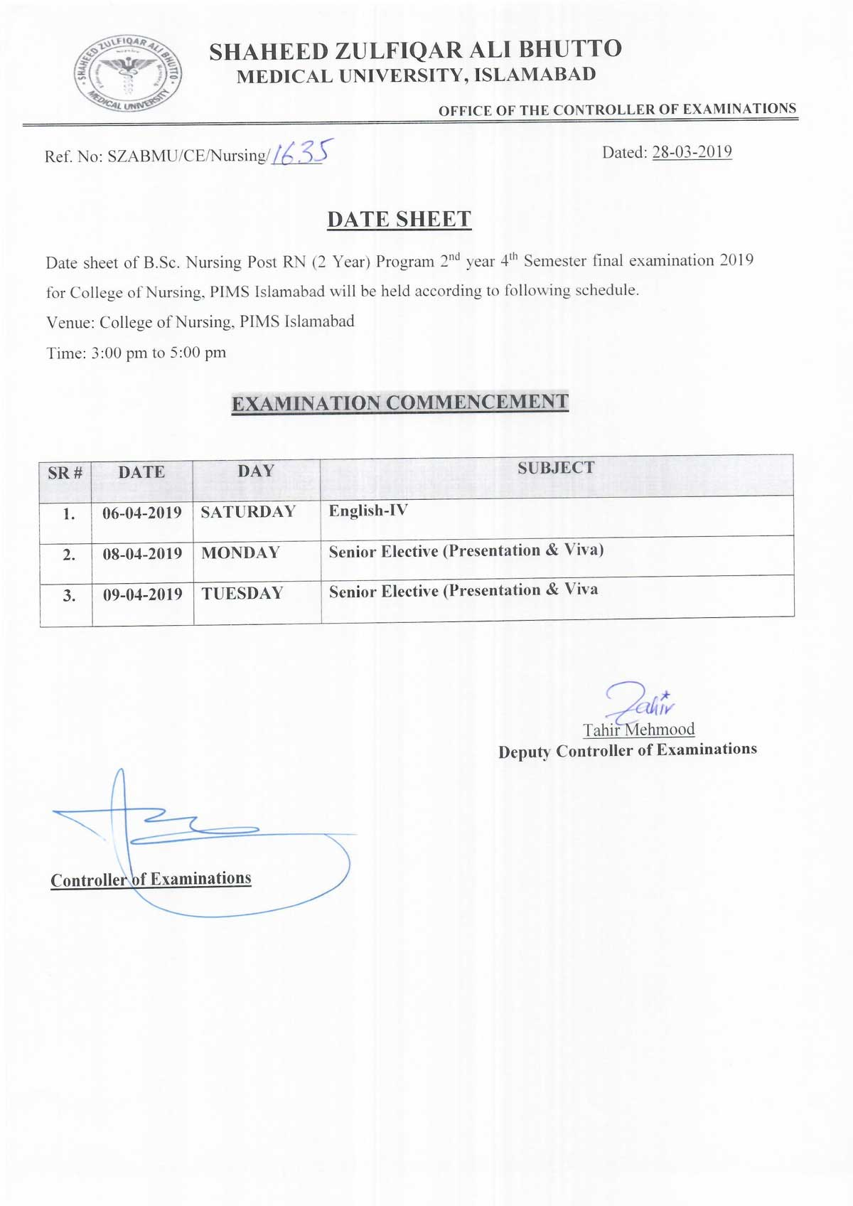 Date sheet of B.Sc Nursing 2nd year 4th Semester Annual Examination 2019