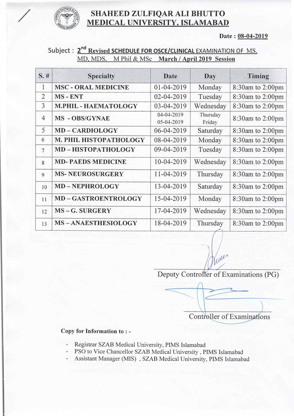 Revised Schedule of Clinical Examination of MS/MD/MDS/M.Phil/MSc