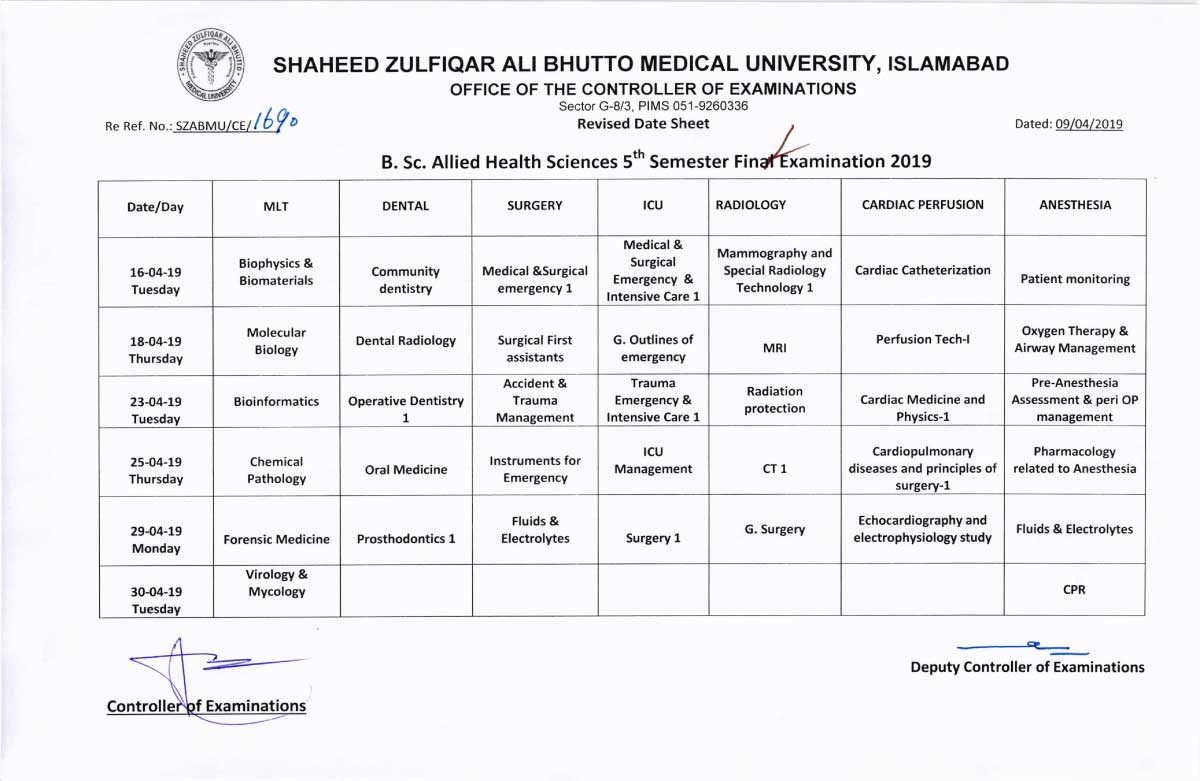 Revised Date Sheet of Allied Health Sciences (AHS) 3rd, 5th & 6th Semester Final Examinations 2019