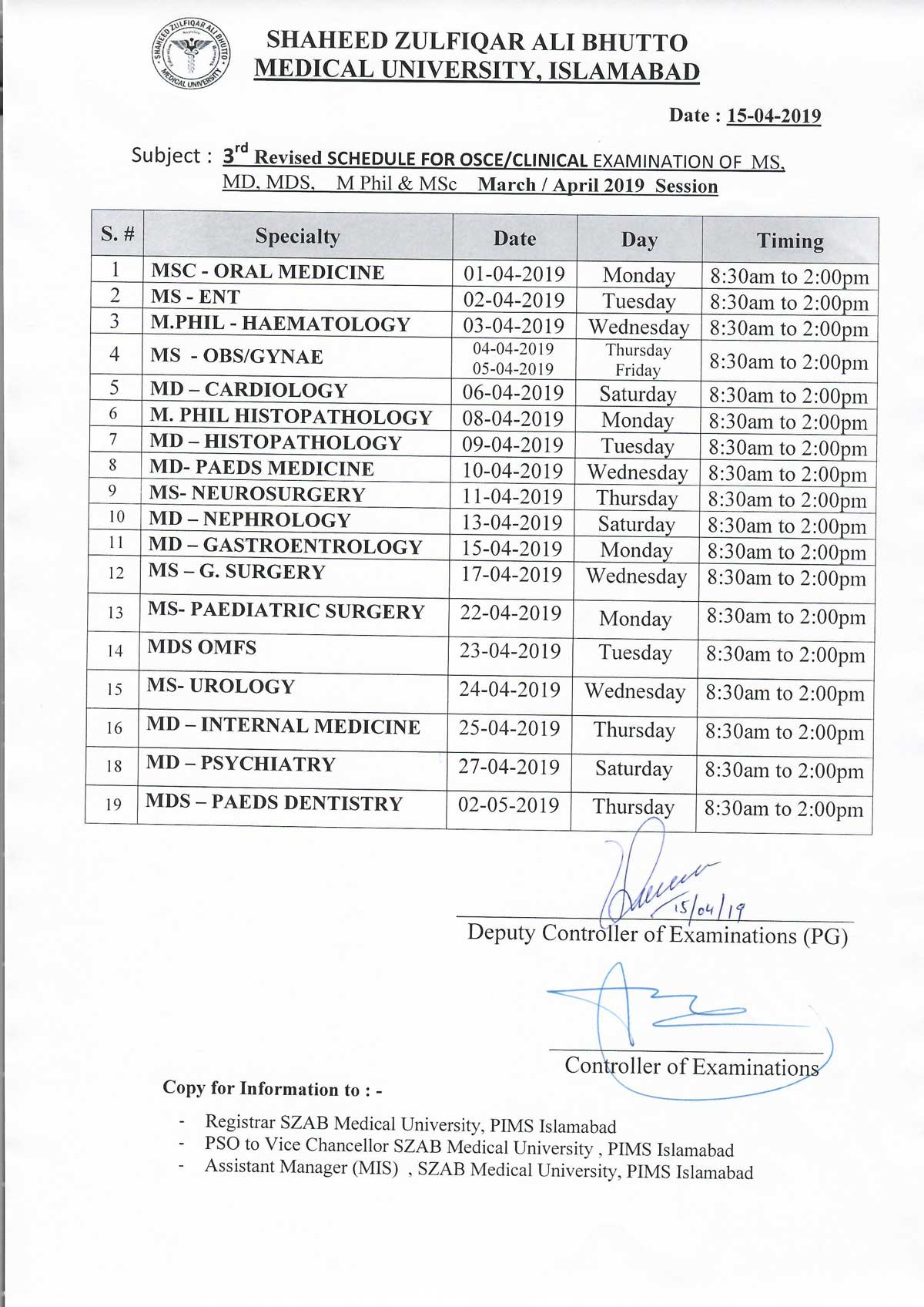 3rd Revised Schedule of Clinical Examinations of MS/MD/MDS/M.Phil/MSc