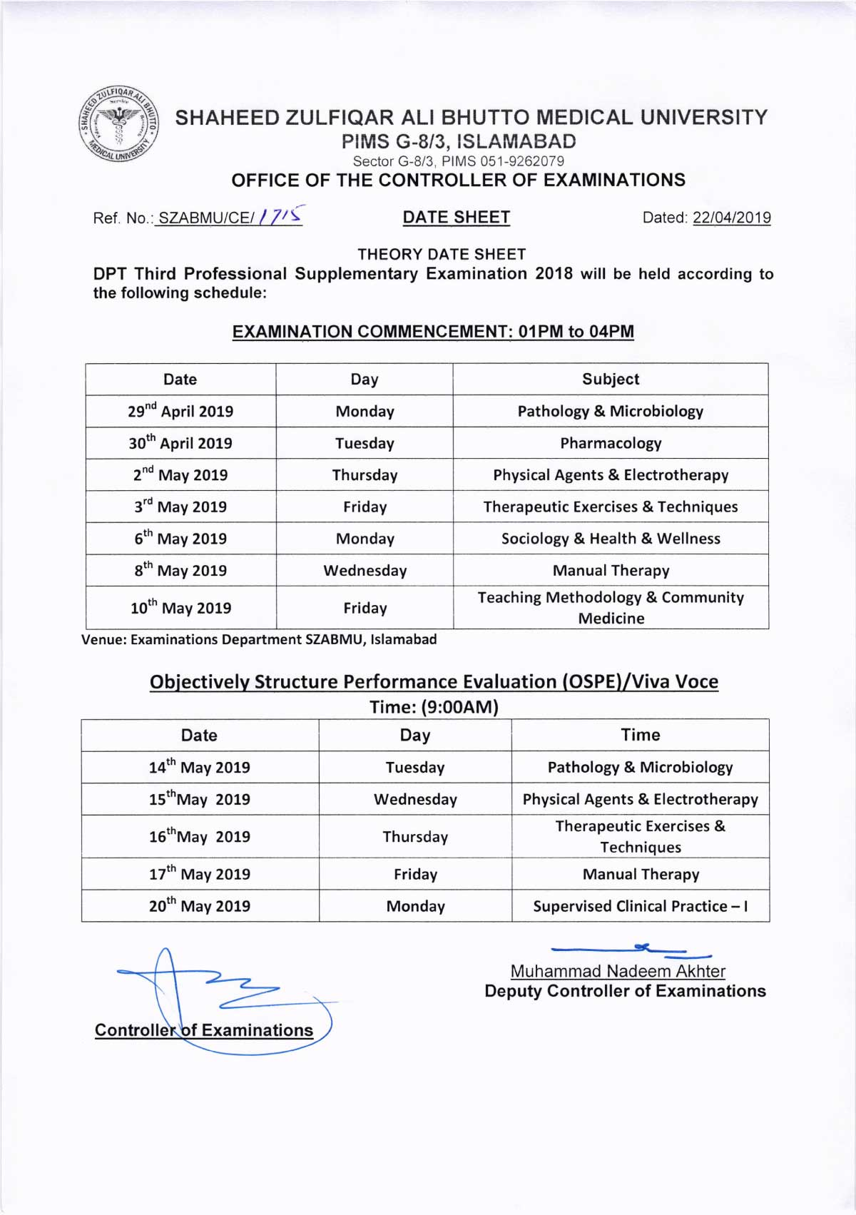 Date Sheet of DPT 1st, 2nd, 3rd & 4th Supplementary Examinations 2018