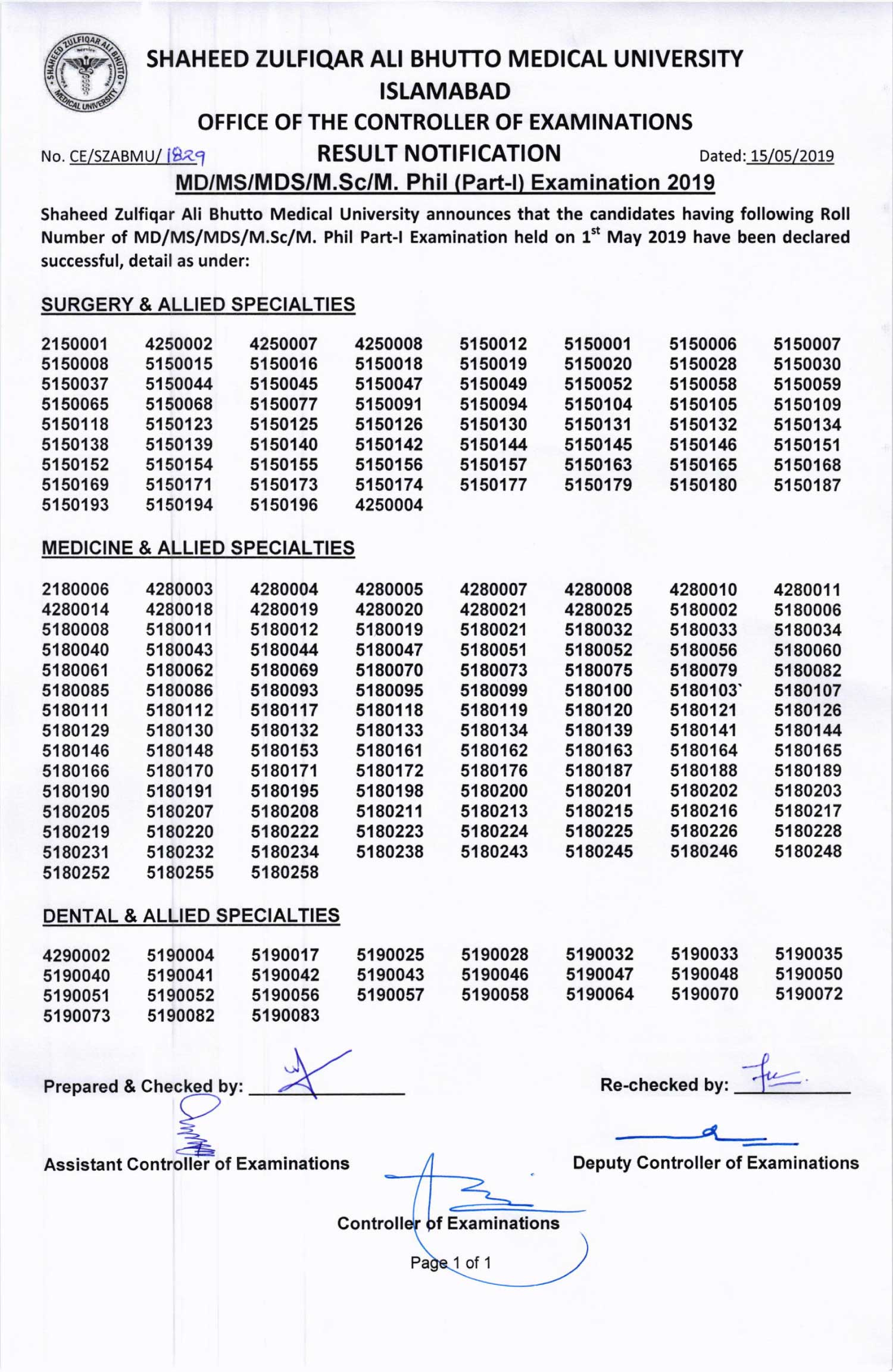Result Notification of MD/MS/MDS/MSc/Mphil Part-1 Examinations April 2019