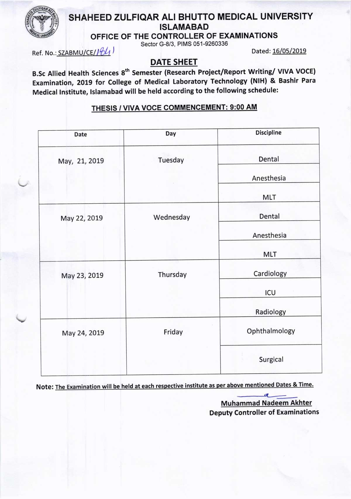 Date Sheet - Thesis / VIVA VOCE Allied Health Sciences (AHS) 8th Semester Final Examinations 2019
