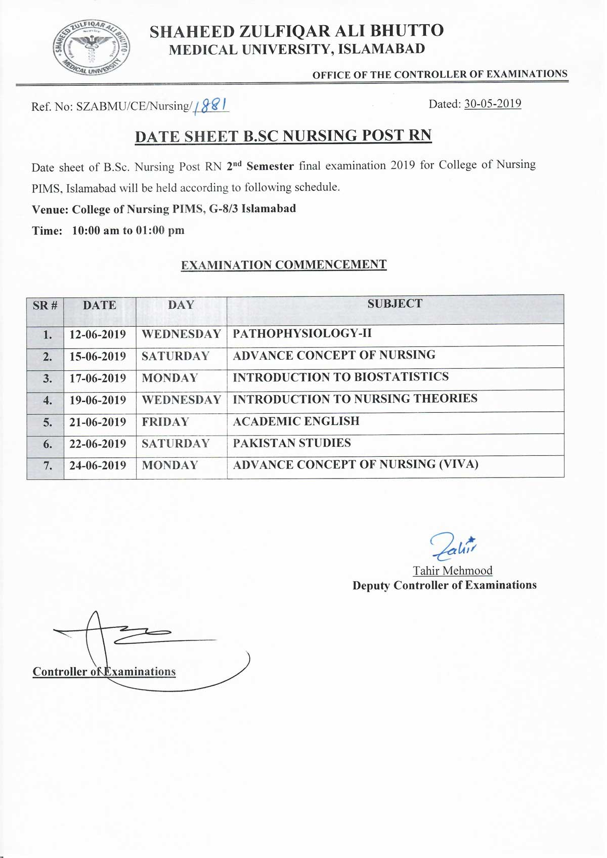 Date sheet of B.Sc Nursing Post RN 2nd Semester final examination 2019 - College of Nursing, PIMS