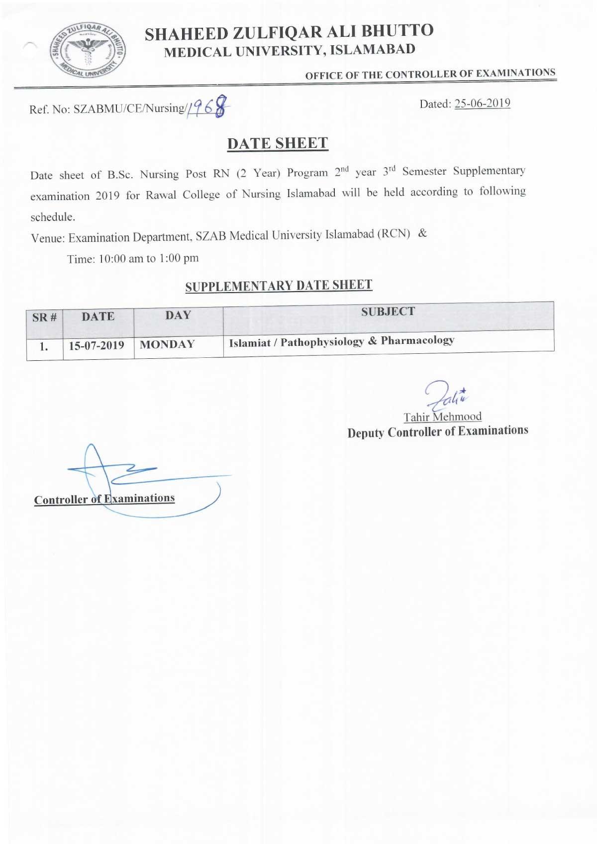 Date sheet of B.Sc Nursing 2nd year 3rd Semester annual examination 2019