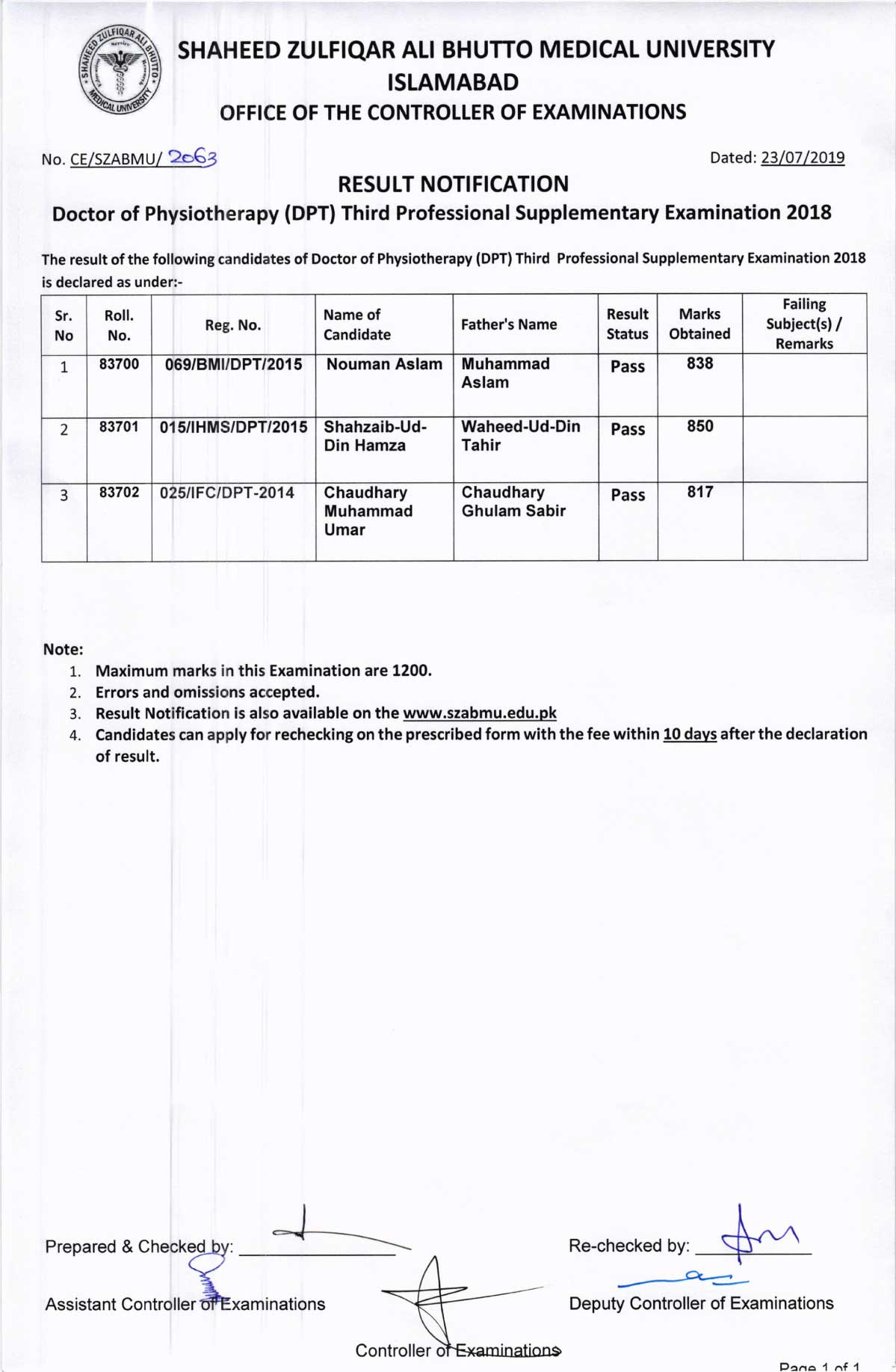 Result Notification of DPT 1st, 2nd, 3rd & 4th Professional Supplementary Examinations 2018