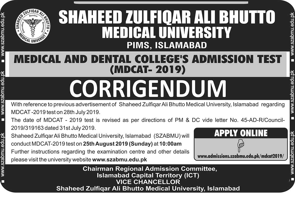 Corrigendum - Medical and Dental Colleges Admission Test (MDCAT-2019)