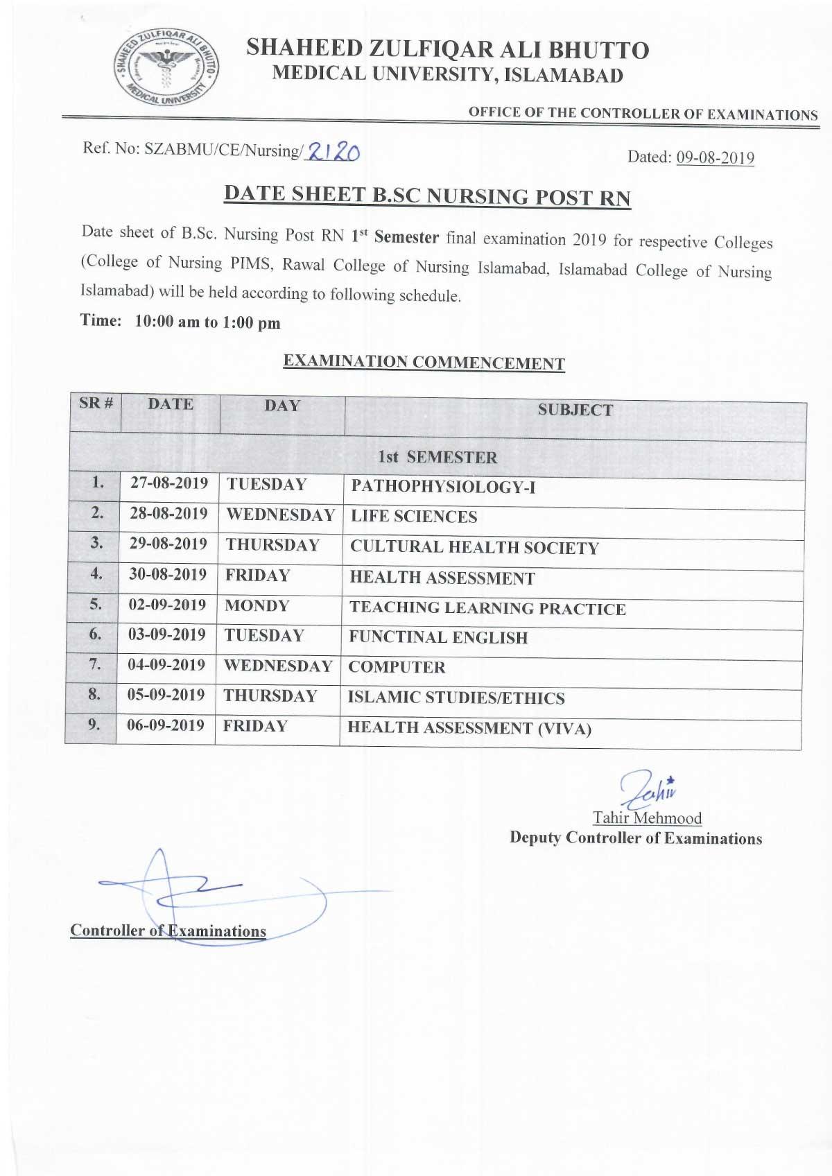 Date sheet of B.Sc Nursing 1st year Examination 2019