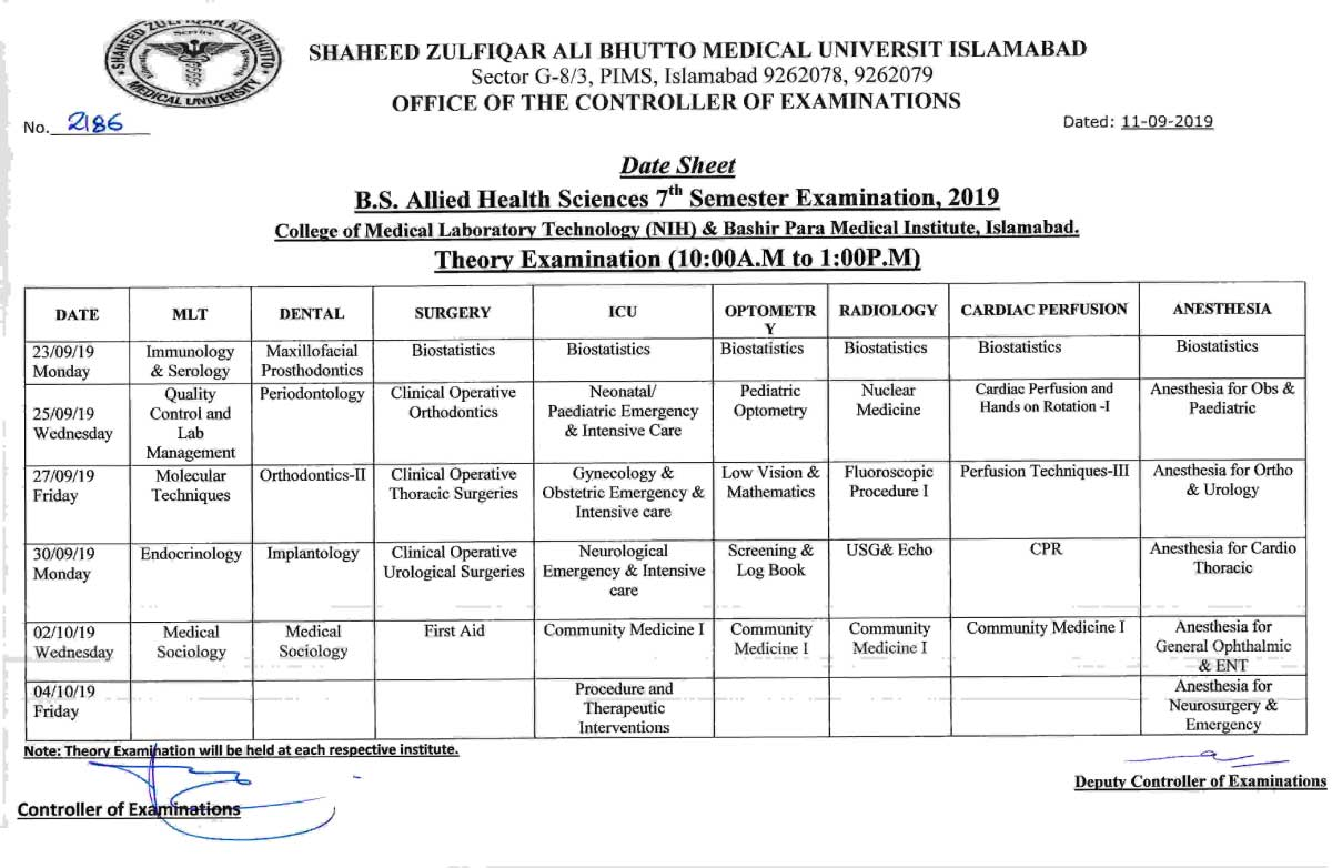 Date Sheet of Allied Health Sciences (AHS) 7th Semester Examinations 2019