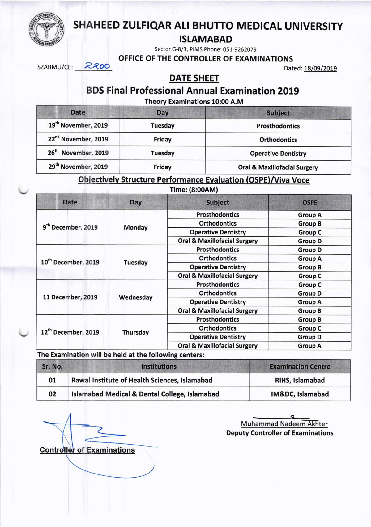 Date Sheets of BDS All Professionals Annual Exam 2019