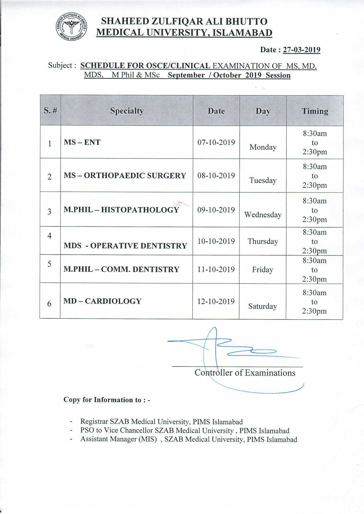 MS,MD,MDS,M.Phil and MSc Clinical Examination Schedule for September 2019 Session