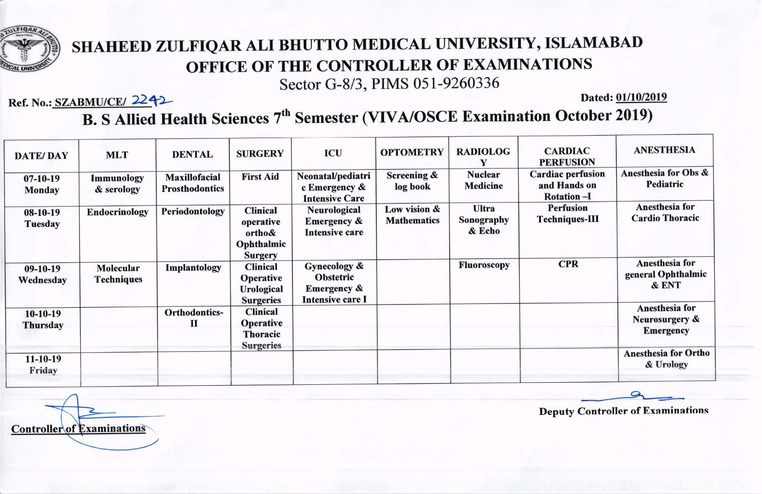 Date Sheet of B.S Allied Health Sciences (AHS) 7th Semester VIVA Examinations 2019