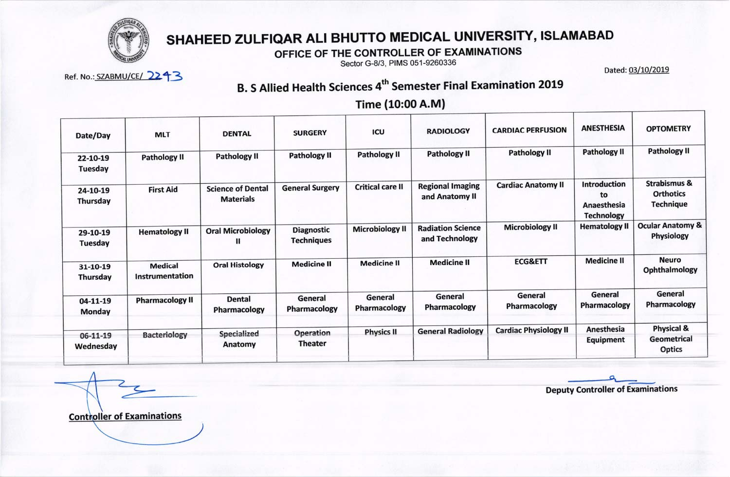 Date sheet of B.S Allied Health Sciences (AHS) 4th Semester Annual Examinations 2019