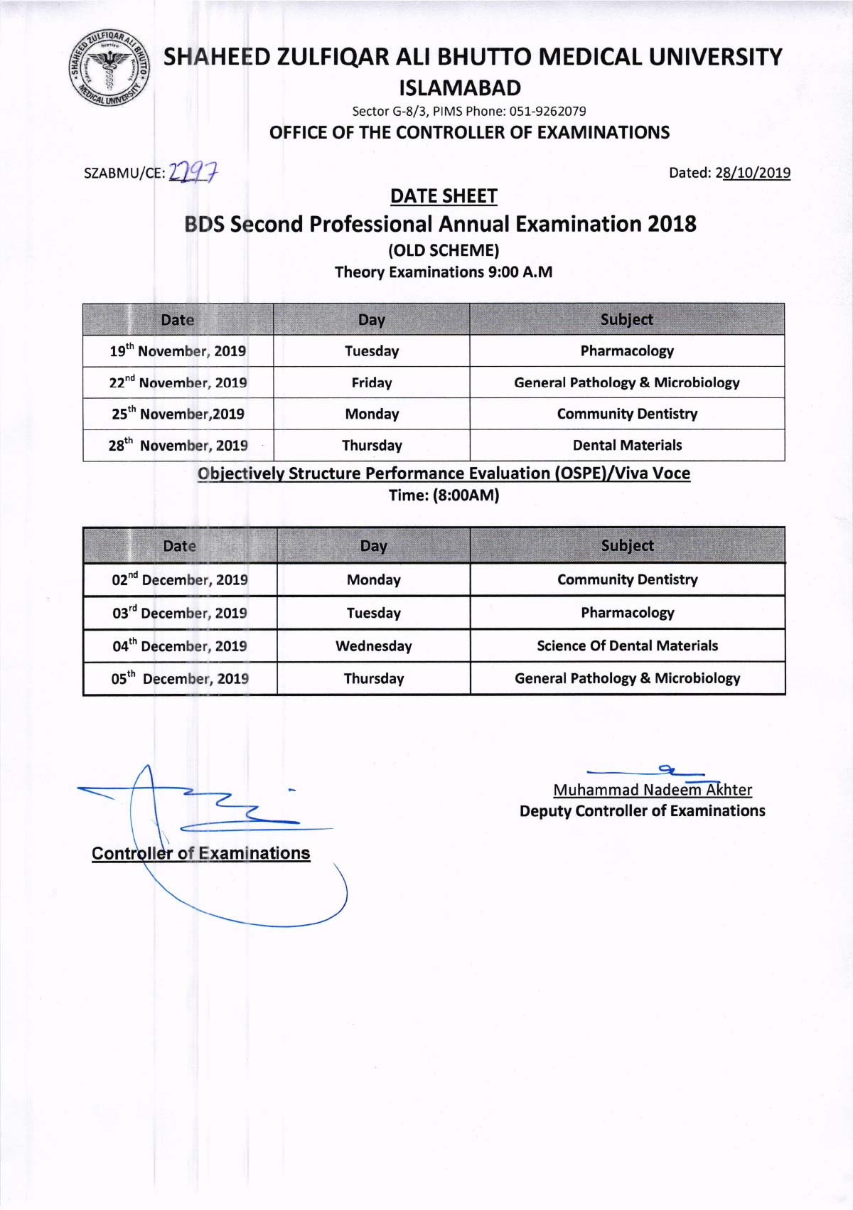 Revised Date Sheet of BDS 2nd Professionals Annual Examination 2019
