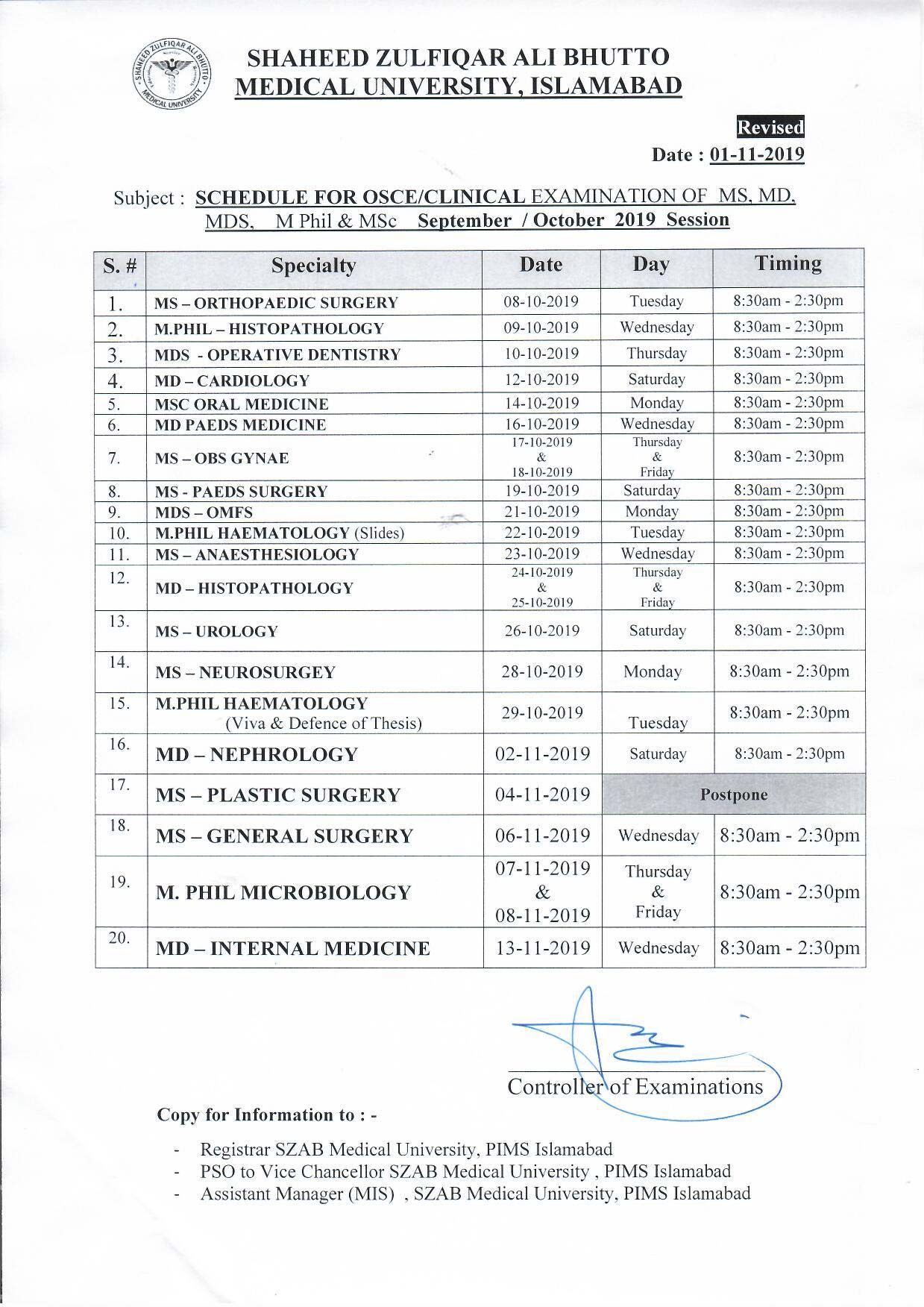 Revised - MS, MD, MDS, M.Phil and MSc Clinical Examination Schedule for September 2019 Session
