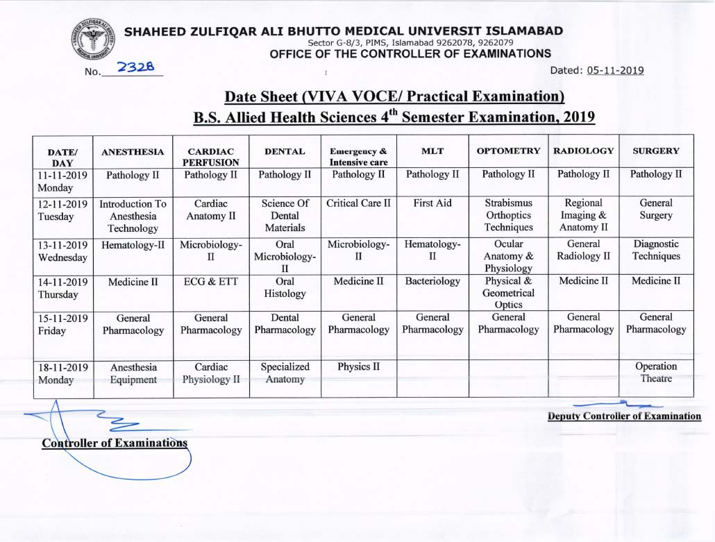 Revised Date Sheet of BS AHS 4th Semester VIVA VOCE Examination 2019
