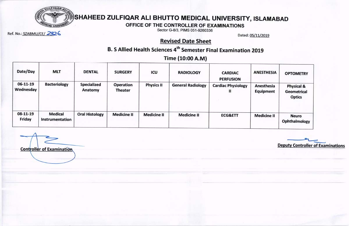 Revised Date Sheet of BS AHS 4th Semester Final Examinations 2019