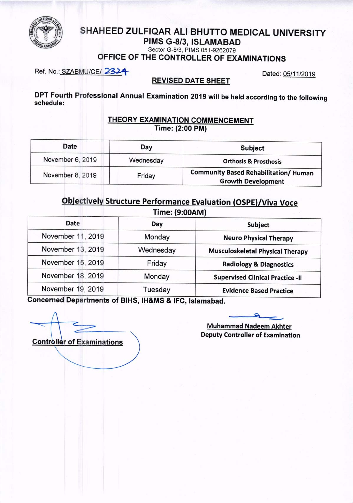 Revised DPT Date Sheets of All Professionals Annual Exam 2019
