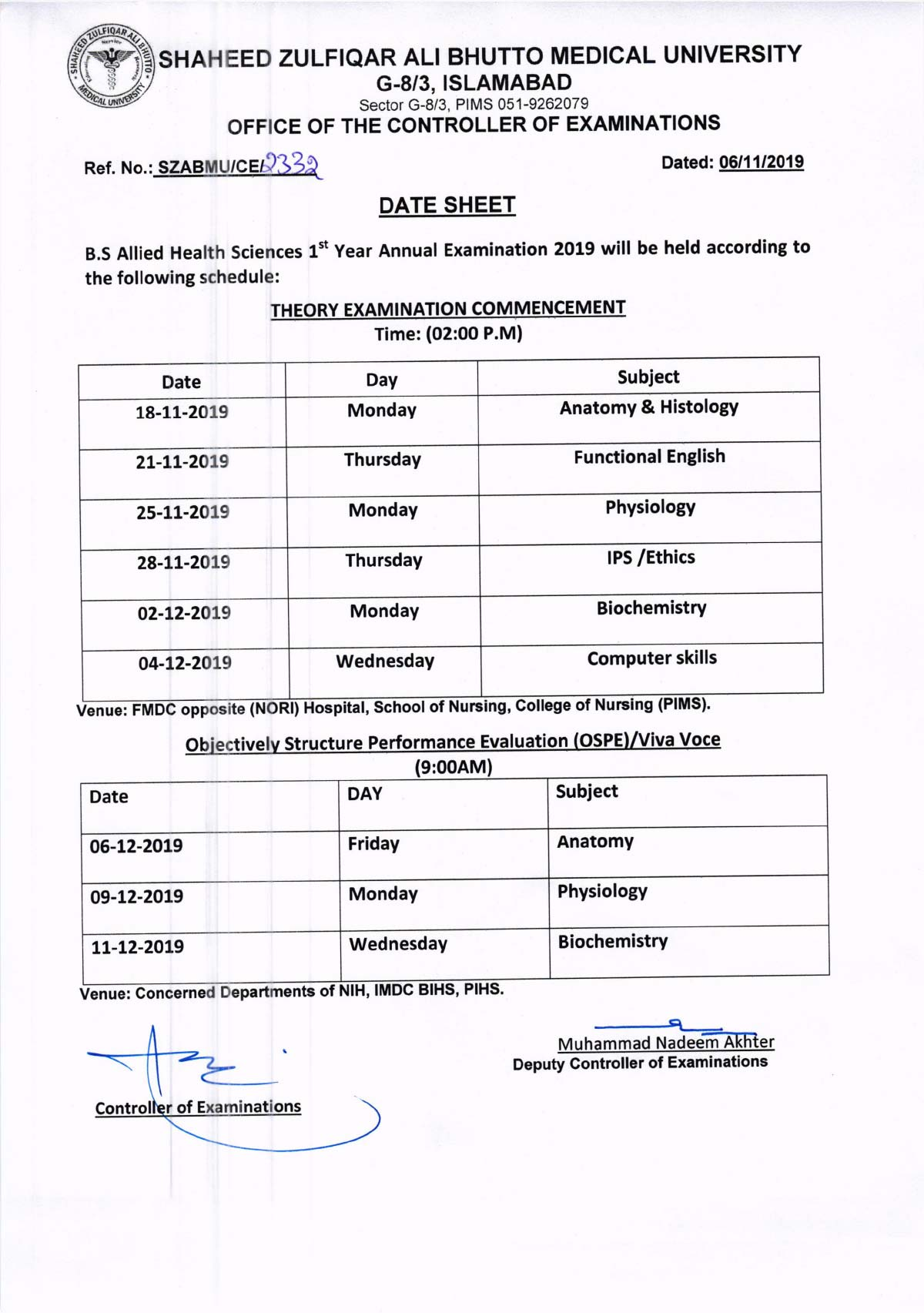 Revised Date Sheet of BS AHS 1st Year Annual Examinations 2019