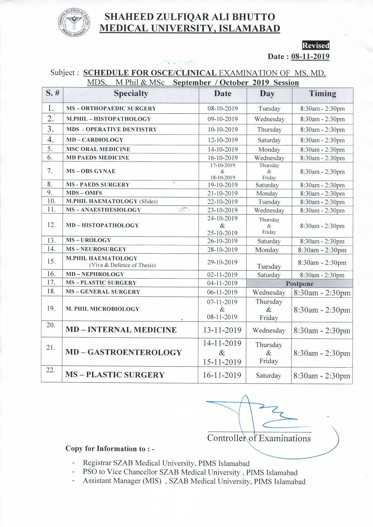 MS, MD, MDS, M.Phil and MSc Clinical Examination Revised Schedule (Revised on 08-11-2019)