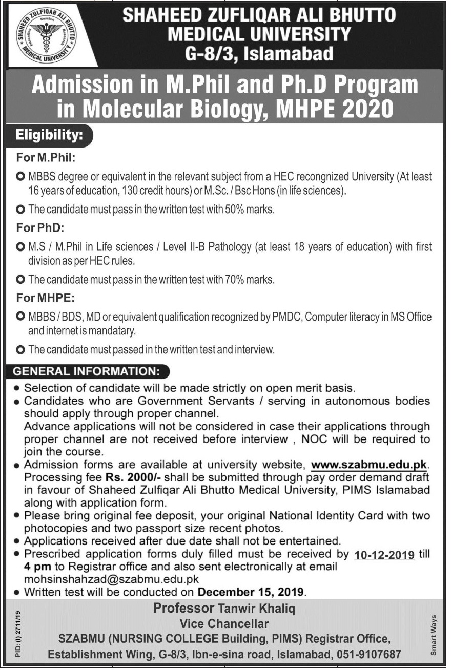 Admissions Notice - M.Phil and P.hD Molecular Biology, MHPE 2020