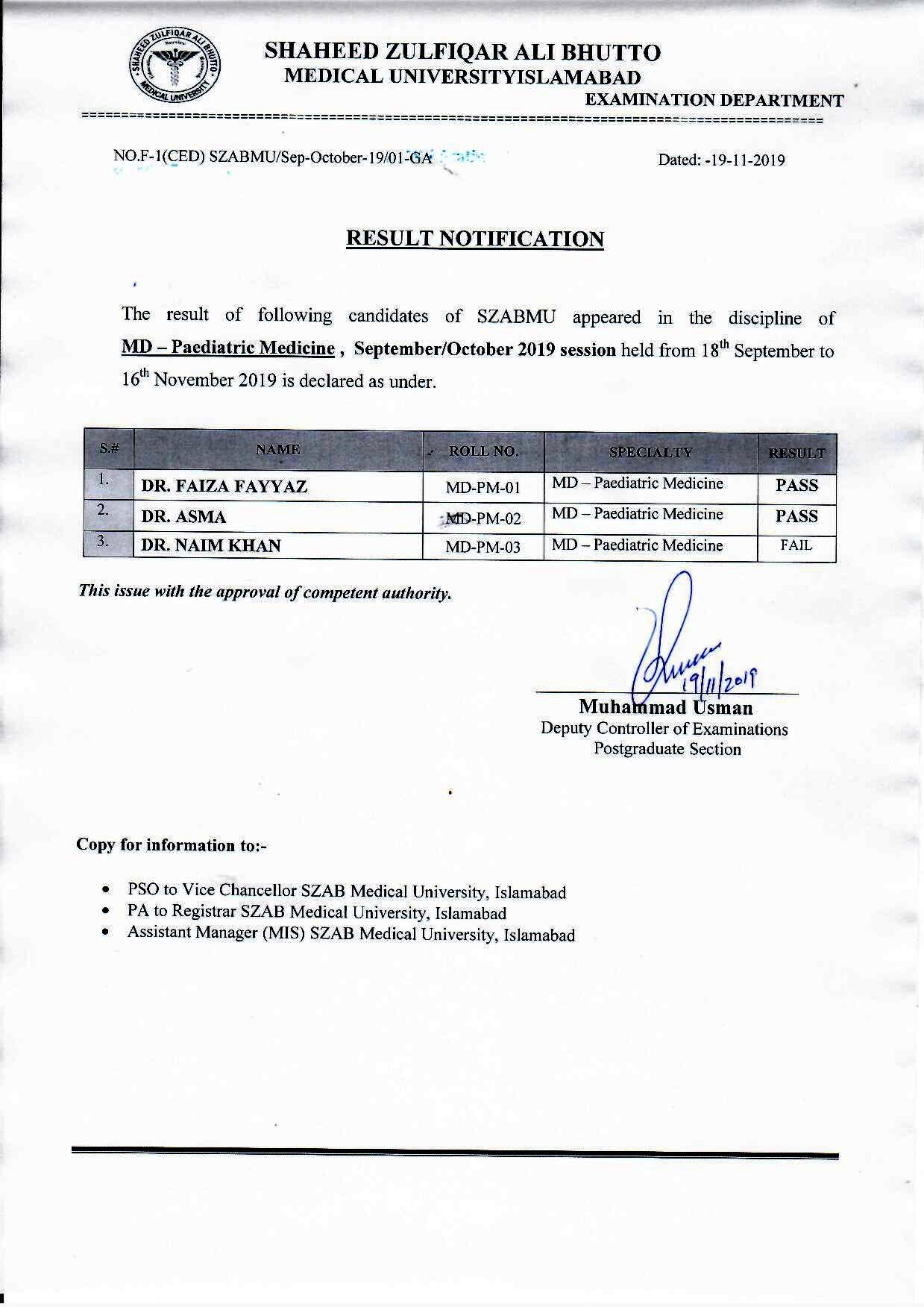 Result Notification - MD (Paediatric Medicine)